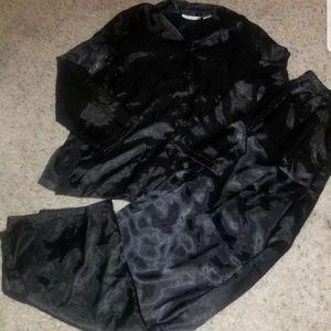 Charteuse Luxe Black  Silky Satin Glossy Pajama Pj